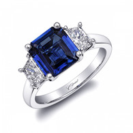 2.44ct Emerald Cut Sapphire Centerstone Signature Color Collection Diamond Ring