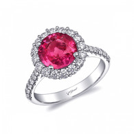 2.53ct Round Cut Pink Sapphire Centerstone Signature Color Collection Diamond Ring