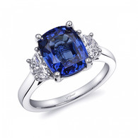 4.29ct Cushion Cut Sapphire Centerstone Signature Color Collection Diamond Ring