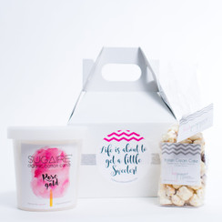 Make Your Life Sweeter Gift Box 6x4x4 Gable Box 1 Sugaire Organic Cotton Candy - 16oz pint 1 Hotpoppin Gourmet Popcorn - 1 cup bag