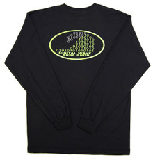 DWSS Logo on Oval Background Arial Bright Green & Transparent Black Long-Sleeve T-Shirt