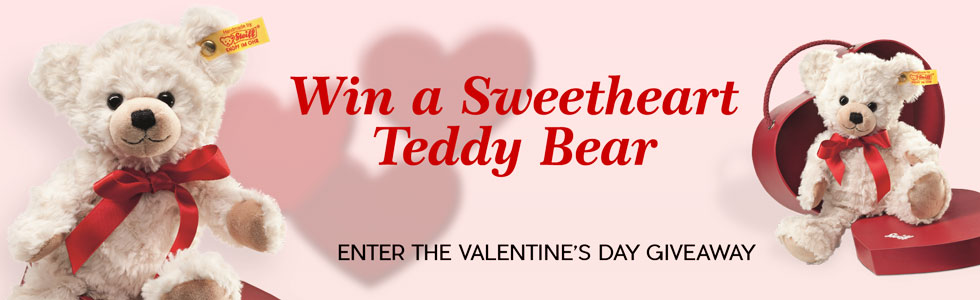 Enter the Steiff Valentine's Day Giveaway. Win a Sweetheart Teddy Bear