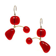Leah Pellegrini Glass Mobile Earrings in Red