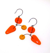 Leah Pellegrini Glass Mobile Earrings in Yellow & Orange