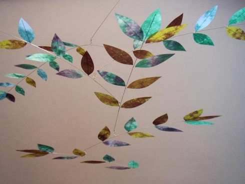 Dappled Leaf Mobile in Plum/Emerald/Blue