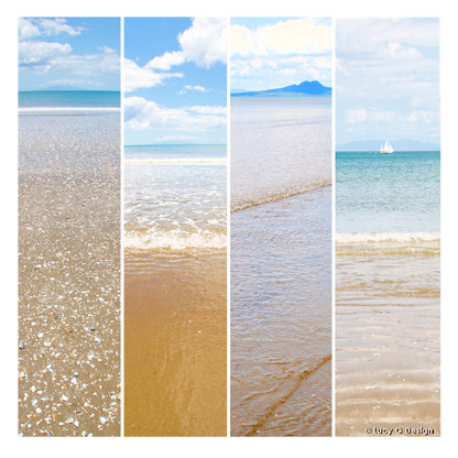 Beach glass wall art print for sale, featuring 4 beach scenes.