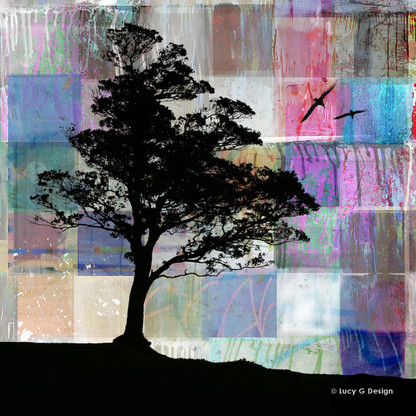 Tree Silhouette glass wall art print for sale, featuring a patchwork collage background with tree.