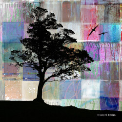 Tree Silhouette' glass wall art print for sale, featuring a patchwork collage background with tree.