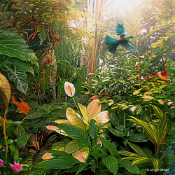 Temptation' glass wall art print for sale, featuring a NZ Tui flying through a lush tropical oasis.