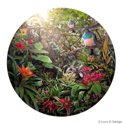Temptation' featuring NZ Wood Pigeon (Kereru) -round / circular, Kiwiana, New Zealand art print.