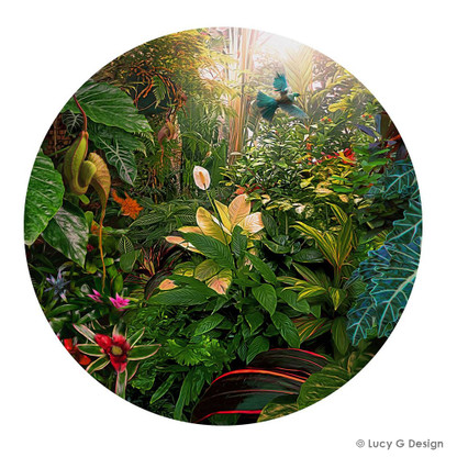 Earthly Delights' featuring a NZ flying Tui in tropical setting -round, Kiwiana, New Zealand art print for sale