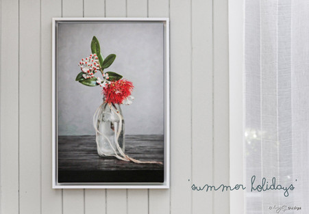 Summer Holidays' - vintage NZ milk bottle with stunning red Pohutukawa flower, NZ art print for sale.