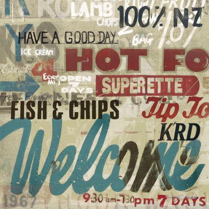 Sign of the Times' - a fun Kiwiana collage featuring Tip Top icecream and fish & chips, NZ art print for sale.