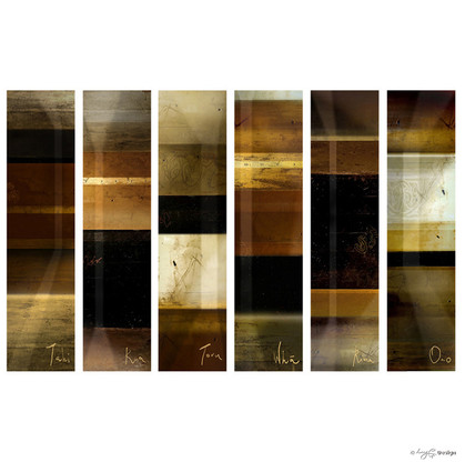 Tahi,Rua,Toru' - abstract series of 6 NZ Maori number art prints with earthy tones, for sale by Lucy G.