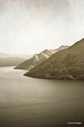 Lake Wakatipu, Queenstown, New Zealand, sepia landscape photo art print for sale.