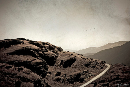 Over the Hill' - sepia landscape photograph of hills around Queenstown, New Zealand, art print for sale by Lucy G.