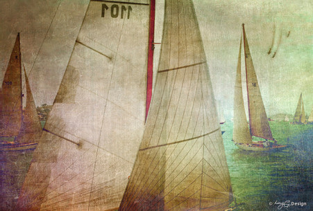 NZ yacht race artwork featuring several yachts racing, photo art print for sale by Lucy G.
