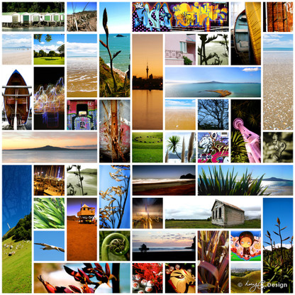 Faces of Auckland' - Kiwiana NZ photo art collage print featuring beachscapes, Skytower, flax -art print for sale.