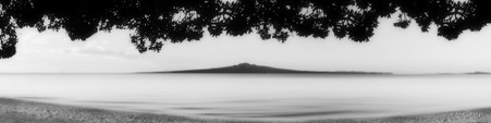 Mission Bay', Rangitoto / Pohutukawa sunset landscape photograph from Mission Bay, Auckland, NZ -print for sale.