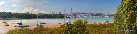 Little Shoal Bay, North Shore, Auckland, NZ - Harbour Bridge view from Little Shoal Bay beach.