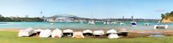 Little Shoal Bay dinghys', North Shore, Auckland, NZ - Harbour Bridge & dinghy view from Little Shoal Bay beach.