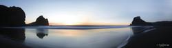 Piha Sunset', Lion Rock, Piha, Auckland, New Zealand - landscape photography print for sale.