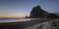 'Lion Rock', West Coast, Auckland, NZ,  sunset beach & seascape - landscape photo print for sale.