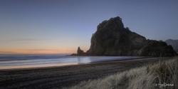 Lion Rock, West Coast, Auckland, NZ,  sunset beach & seascape - landscape photo print for sale.
