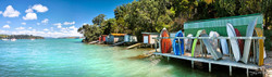Rocky Bay boatsheds (panoramic, to 1.8m)