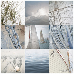 NZ Sailing' a beautiful photo print collage featuring yachts, sand, sky, sand dunes
