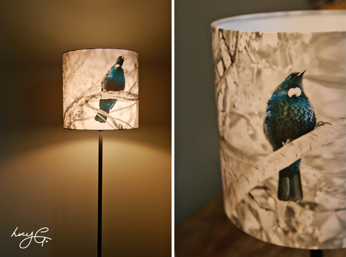 Nz tui bird printed lamp lampshade large floor standing for Large floor lamp nz