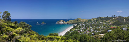 Hahei, Coromandel, NZ, showing Te Pare Reserve on the peninsula & Te Karaka Island  - print for sale