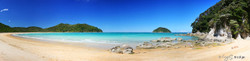 Tonga Bay, Abel Tasman National Park, NZ, showing beach and sea - landscape photo print for sale.