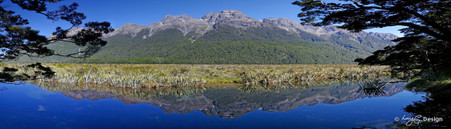 Mirror lakes, Fiordland National Park, NZ - panoramic landscape photo art print for sale