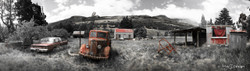 Old derelict shed and cars,  Glenorchy, NZ - panoramic landscape photo art print for sale.