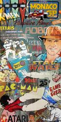 Retro arcade game pop art graffiti collage  featuring Pac Man, Asterix, Sega ... - canvas wall art print for sale