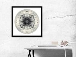 Harakeke (Flax) Mandela - circular NZ art print, in black frame
