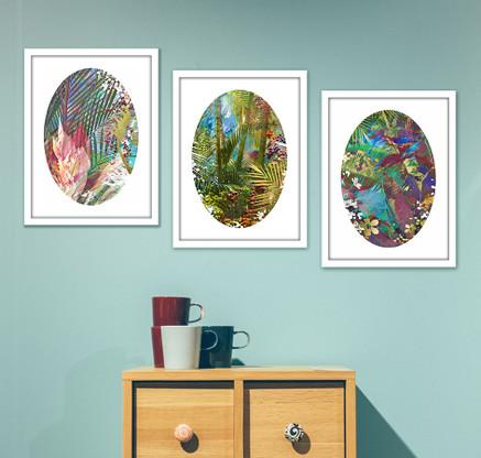 Set of 3 gold leaf artworks