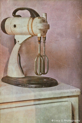 A vintage NZ still life photo art print featuring a vintage Kitchenaid mixer.