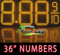 "Gas Price LED Sign (Digital)  36"" Amber (Yellow) with 3 Large Digits & fraction digits - 5 Year Warranty"