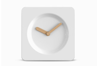 LEFF TILE 25 CLOCK WHITE by Robert Bronwasser