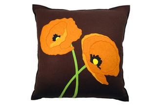 Sandor Applique Poppy Lovers pillow - Orange, Lime on Chocolate