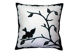 Sandor Applique Hollóháza Bird pillow - Black on White w/ Glacier accent