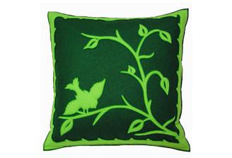 Sandor Applique Hollóháza Bird pillow - Lime on Sherwood w/ Green accent