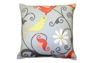 Sandor Applique Curly Bird pillow - Stone Grey, Pale Green, and Peach on Silver Grey