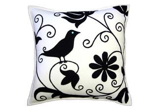 Sandor Applique Curly Bird pillow - Black on White w/ Glacier