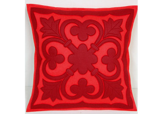 Sandor Applique Old World pillow- Cranberry and Red on Coral