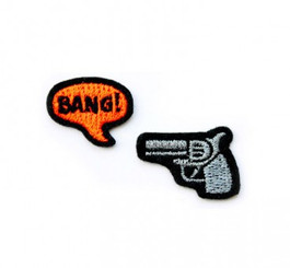 MACON & LESQUOY SILVER REVOLVER + 'BANG!' PATCHES