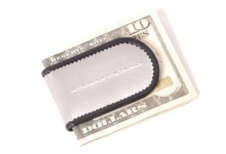 LEATHER ACCENT MAGNETIC MONEY CLIP by Stewart Stand