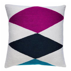 JUDY ROSS WOOL PILLOW- ACE (cream/claret/navy/peacock)